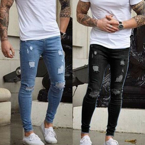 Herren Jeans Ripped Skinny Jeanshose Denim Röhrenjeans Slim Fit Stretch Hosen