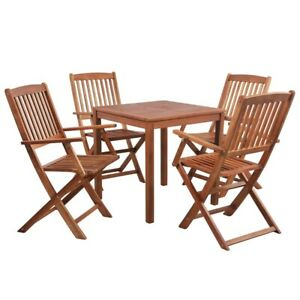Tavolo Quadrato Con Sedie.Dettagli Su Set Tavolo Quadrato Con 4 Sedie In Legno Massello Acacia Per Giardino Terrazzo