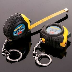 2 x 1M KEY RING POCKET FOB TAPE MEASURE Portable Metric Imperial Small Mini Set
