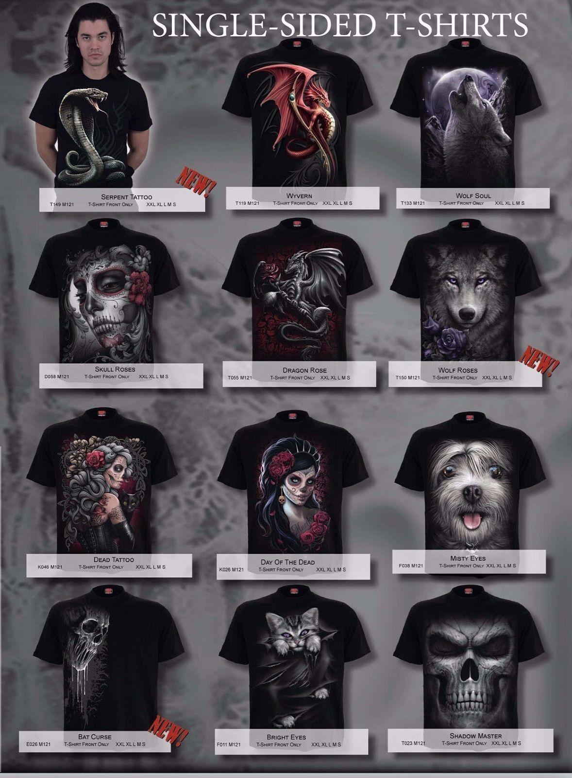 SPIRAL Direct stampa sul davanti SHIRT/TOP Designs Teschio/Dragon/Xmas/Rosa/Lupo/Regalo/T SHIRT/TOP davanti 28f7e5