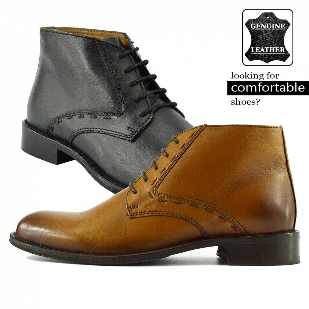Men's High Quality Leather Desert Boots Smart Casual Brogue Ankle shoes