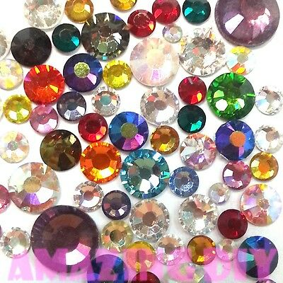 100 pcs 2mm- 5mm Mix color & Size Crystal Glass Rhinestone Flatback Cabochon