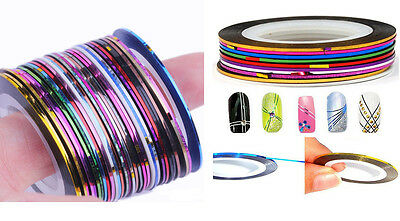 Lots 30Pcs Mixed Colors Rolls Striping Tape Line Nail Art Decoration Sticker