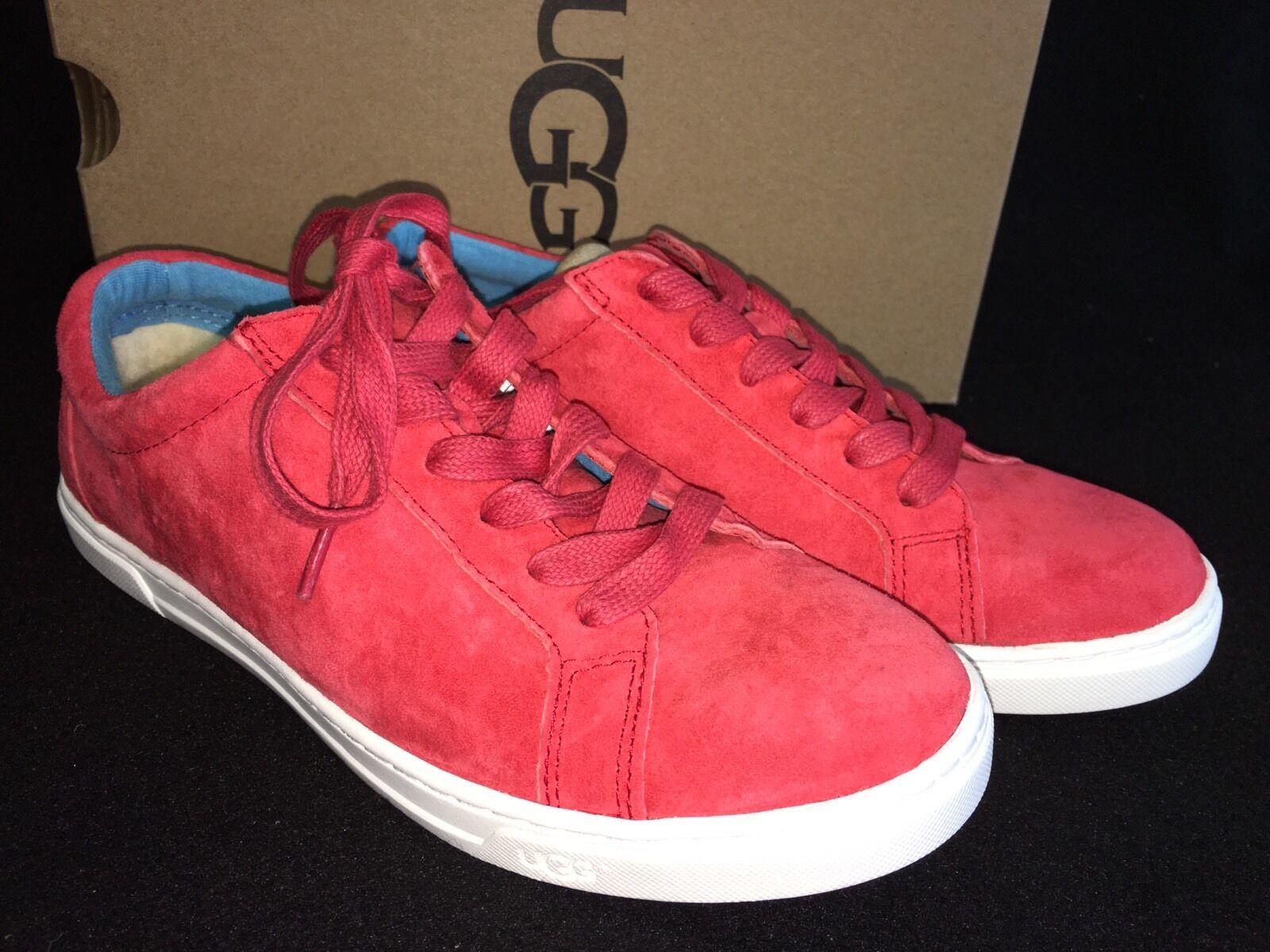 Ugg Australia Karine Womens Fashion Sneaker Tango Red Suede Lace Up Shoe 1015044