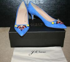 J.CREW COLLECTION DULCI SUEDE PUMPS WITH JEWELS SIZE 6,5M TIDEWATER