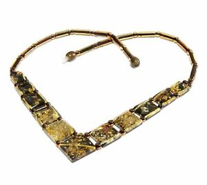 Natur-Baltischer-BernsteinKette-Collier-Halskette-Poliert-Gruen-47-cm-Amber