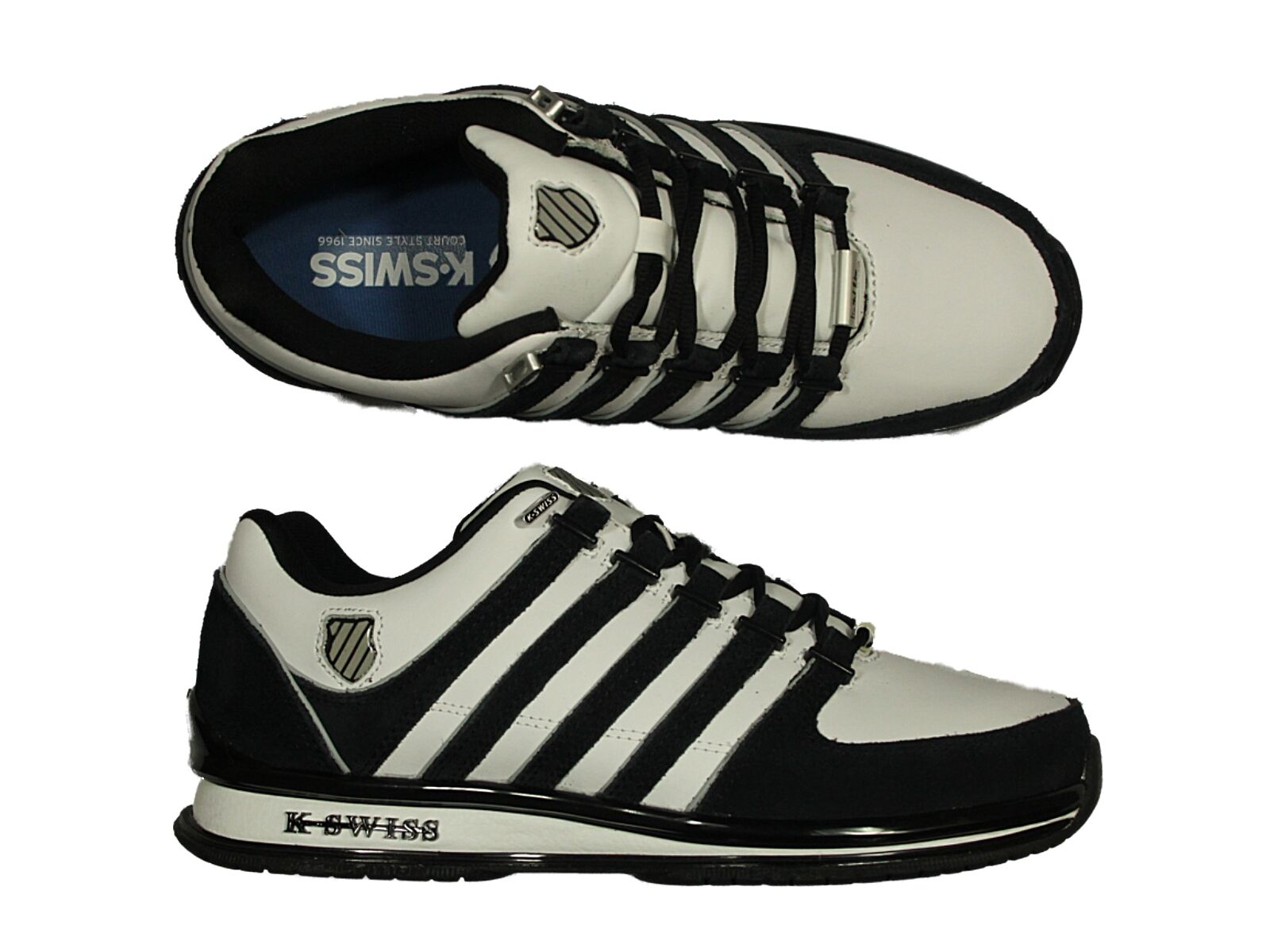 MENS TRAINERS K.SWISS RINZLER SP IN WHITE-BLACK LACE UP FOOTWEAR SIZES 6 - 12