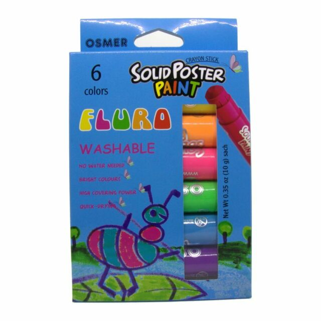 Solid Poster Paint Washable Crayon Sticks 2 x 6 packs (12) Osmer Fluro FPP6