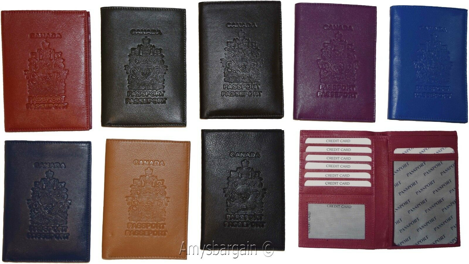 Canadian Leather passport cover. Wallet Passport case. Leather Credit Card ID BN