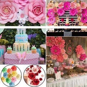 Details About 2pcs Large Paper Flowers Backdrop Birthday Wall Wedding Party Decoration 20 40cm