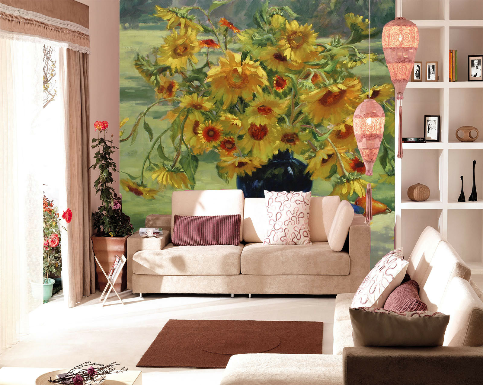 3D Sunflower 555 Wallpaper Murals Wall Print Wallpaper Mural AJ WALL AU Summer