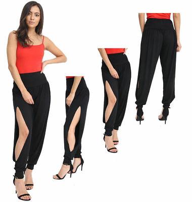 New Women Ladies Side Slit Ali Baba Harem Trousers Pants Cuff Bottom 8-14 MRS