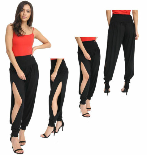 MRS New Women Ladies Side Slit Ali Baba Harem Trousers Pants Cuff Bottom 8-14