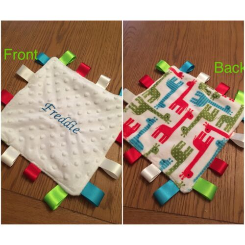 Personalised  Baby Taggie Security Blanket Comforter Newborn Christening Gift