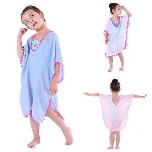 Ninas-Ninos-Verano-Lindo-Kimono-abrigo-cubrir-Traje-de-Bano-Bikini-Playa-Vestido-Blusa