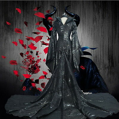 Movie Maleficent Angelina Jolie Costume Halloween Cosplay Outfit Fancy Dress O