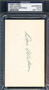 Don Wilson Signed Psa/dna 3x5 Index Card Authentic Autograph