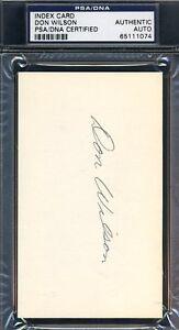 Don Wilson Signed Psa/dna 3x5 Index Card Authentic Autograph