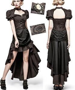 Robe-longue-steampunk-gothique-victorienne-baroque-raye-drape-rouages-Punkrave