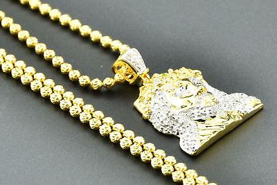 Billiger Preis Gelber Diamant Jesus Ziffernblatt Anhänger .925 Sterlingsilber Charm W / Kette