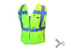High Visibility Yellow Reflective Vest Pockets Zipper Size Xl Safety Ppe