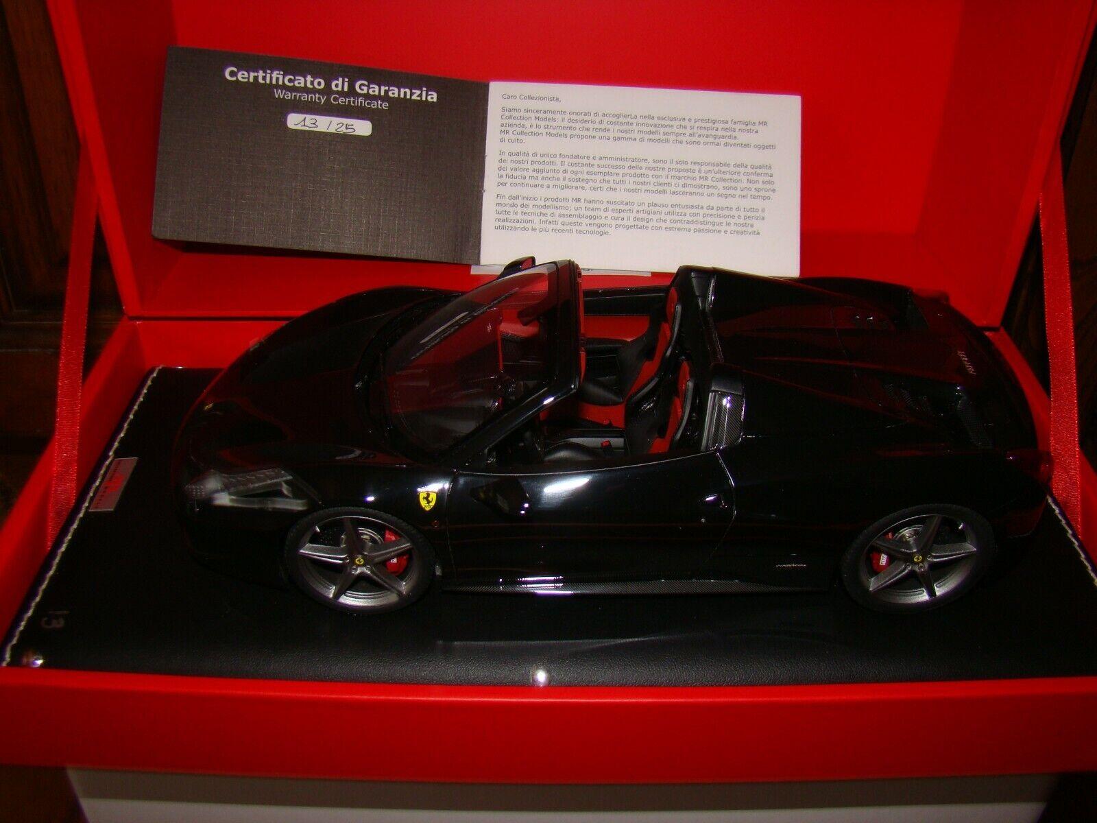 Ferrari 458 Ragno Mr Collezione Nera 1 18 Eme Superbo e Molto Rara