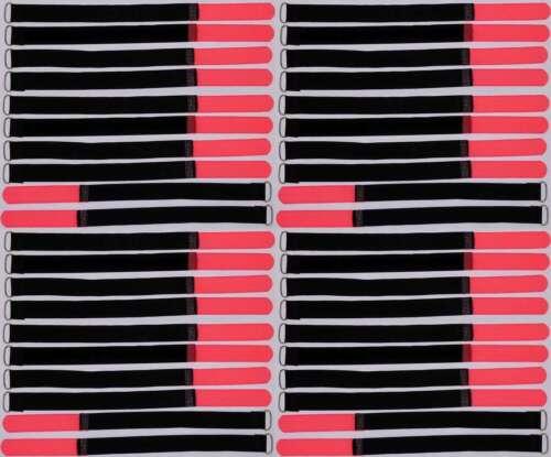 40x Kabelbinder Kabelklett 30 cm x 20 mm neon rot Klettband Klettkabelbinder Öse