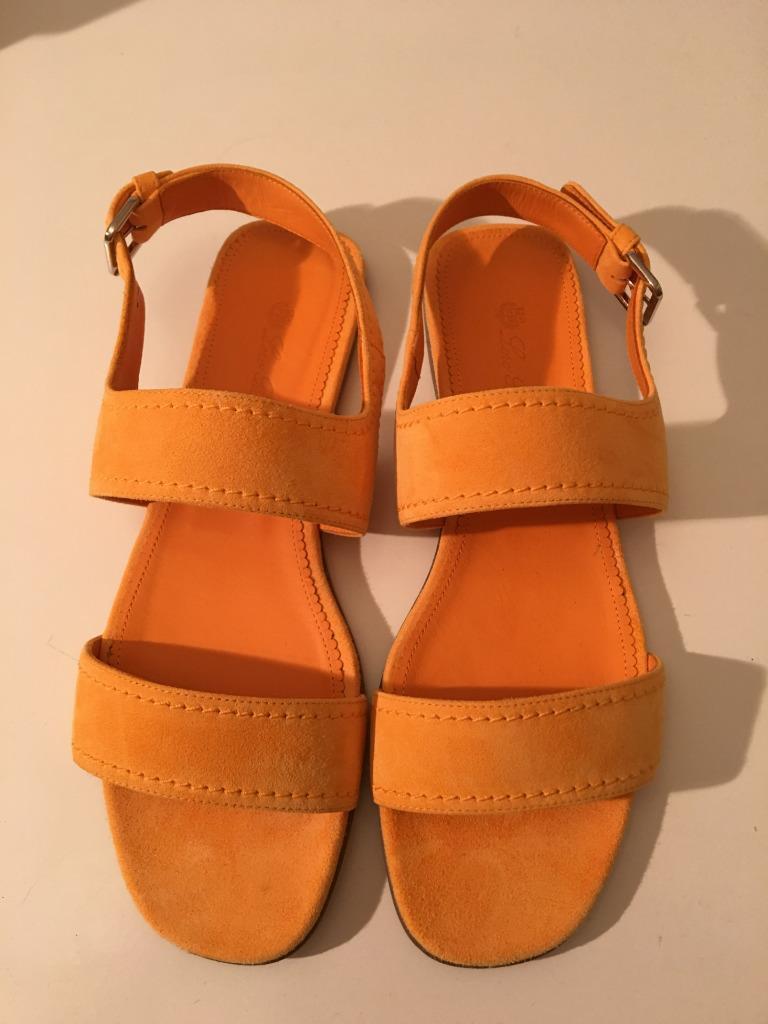 995 NIB Authentic Authentic Authentic Lgold PIANA LOA Yellow orange Suede Sandals shoes 39 c5dec2