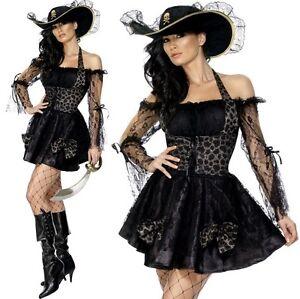 scarpe da ginnastica a buon mercato In liquidazione Garanzia di soddisfazione al 100% Dettagli su Bucaniere Donna Sexy Costume da Pirata Nero Vestito da Smiffys  Nuovo
