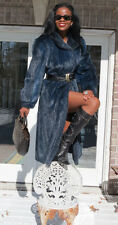 New Designer Rare Full Length Blue Black Mink Fur Coat Jacket Stroller M-L 6-12