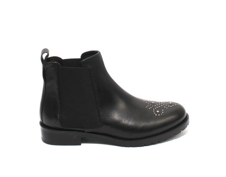 Mally 6315 Black   Silver Leather Elastic Pull-On Ankle Ankle Ankle Studded Boots 37   US 7 9b48bf