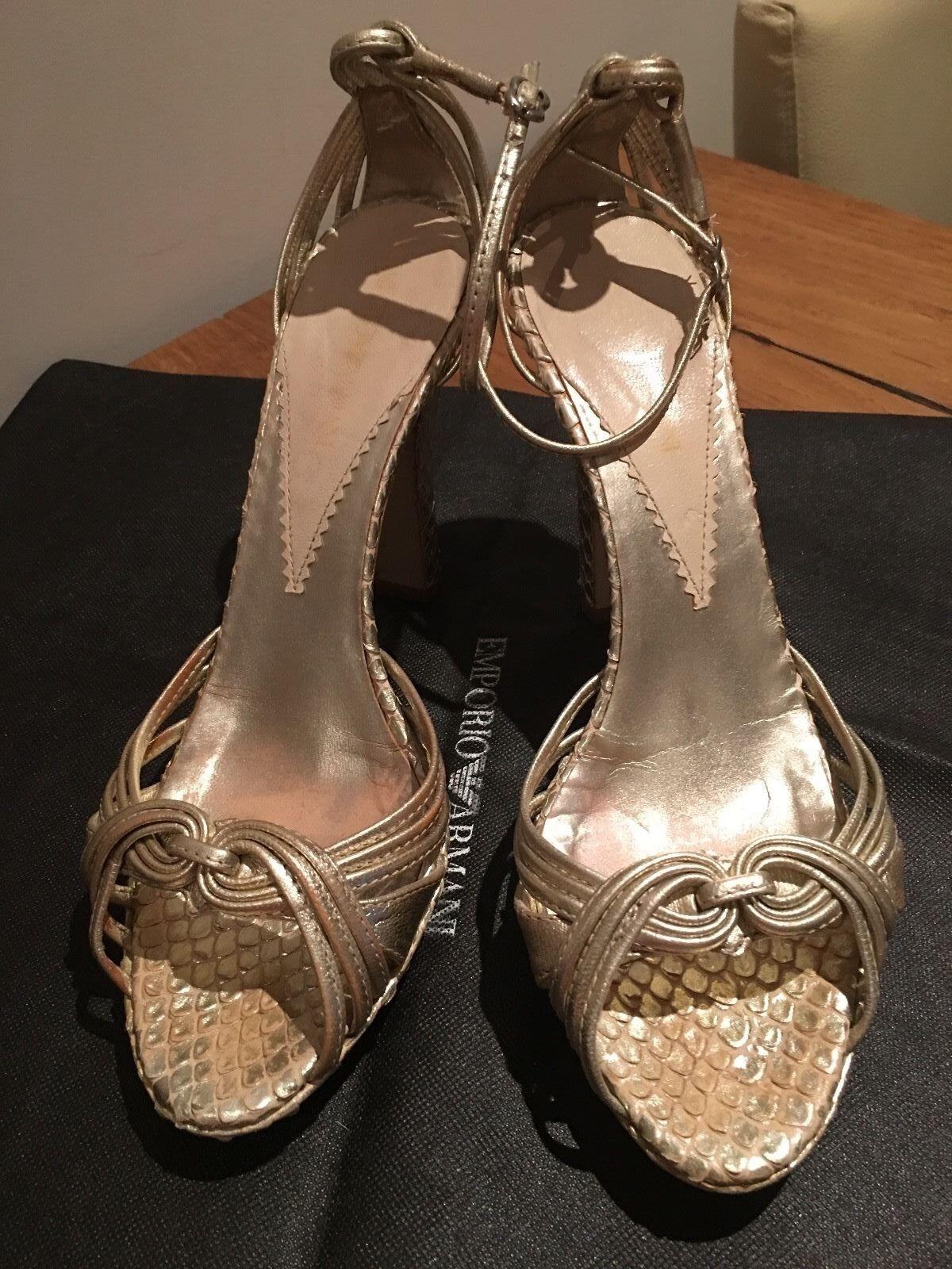 Vackra Armani guld Piton läder skor, Storlek Storlek Storlek EU37.5, UK4.5  officiellt godkännande