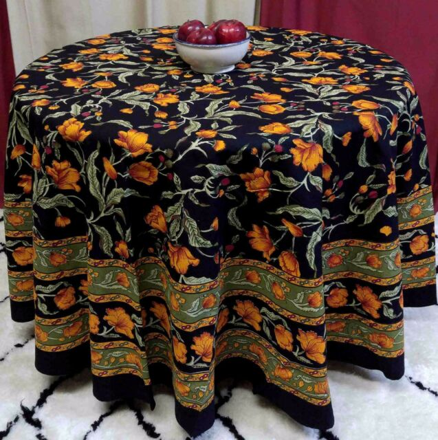 Cotton Fl 90 Inches Round Tablecloth Black Amber Olive Roundy Beach Sheet