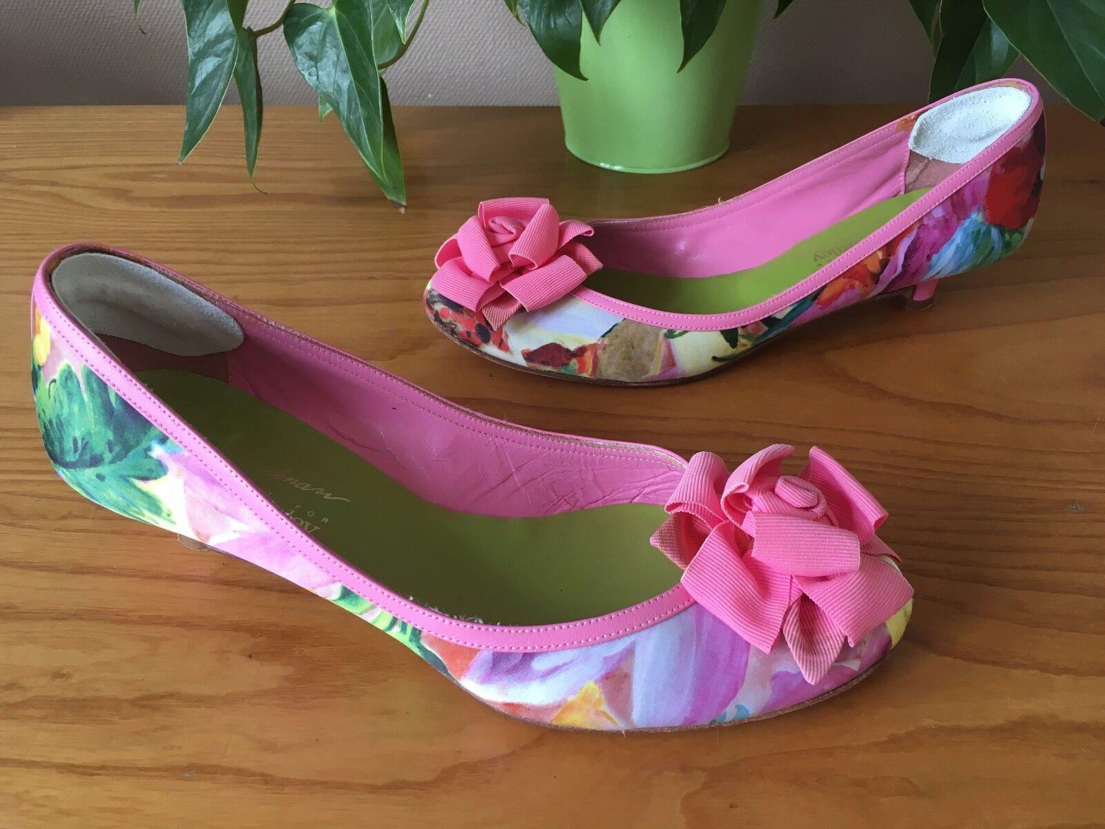 Beverley Feldman Russell & Bromley pink floral ballerina pumps UK 4.5 EU 37.5