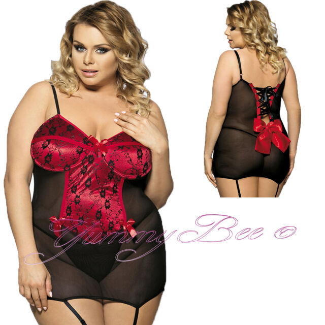 0139f9c76a3 Yummy Bee Plus Size Lingerie Lace Dress Babydoll Set Teddy With Suspenders  Lac