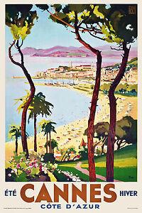 Vintage ART DECO frenchtravel Poster CANNES COTE D'AZUR RIVIERA rétro 30s plage  </span>