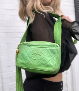Chanel-Authentic-Vintage-1989-CC-Tassel-Quilted-Camera-Bag-Mint-Green-W-Box