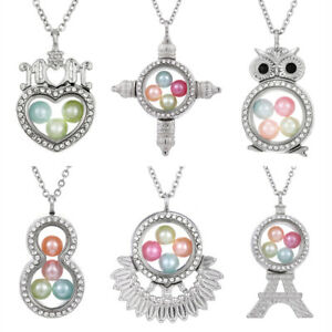 MOM-Heart-Living-Memory-Floating-Locket-Pendant-Pearl-Cage-Glass-Locket-Necklace