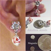 Magnetic Red Flower Earrings Porcelain Drop Dangle Non-pierced Silverplated M153