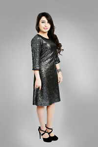 c09ee696 Sherry Fashion Womens Plus Size Sequin Party Dress in Black & Silver ...