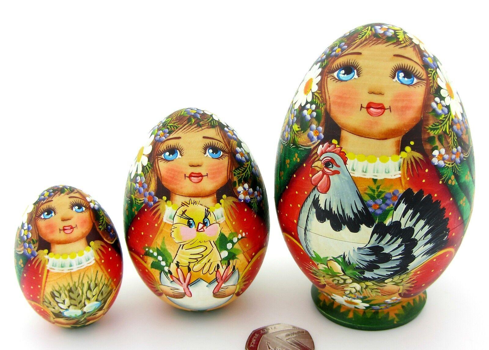 Matriosca Russa Bambole  Piccola Pasquale 3 Uova Pollo Baskakova Firmato  spedizione gratuita!
