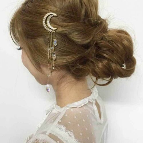 Crystal Crescent Pendant Hair Clips Hairpins Tassel Hair Accessories for Women