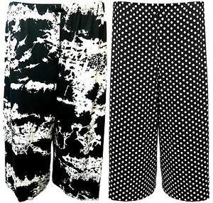 New Ladies Plus Size Wide Leg Polka Dot Print Shorts 16-26