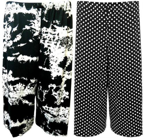 NUOVO Taglie Forti Da Donna In Jersey Stampato Gamba Larga Culotte Pantaloncini 16-26