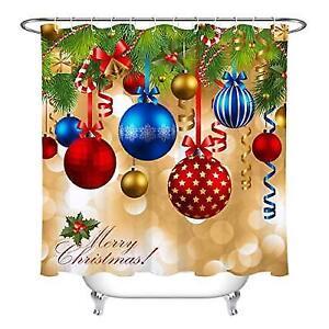Christmas Shower Curtain Sets Balls Cedar Bell Ribbon Bathroom With