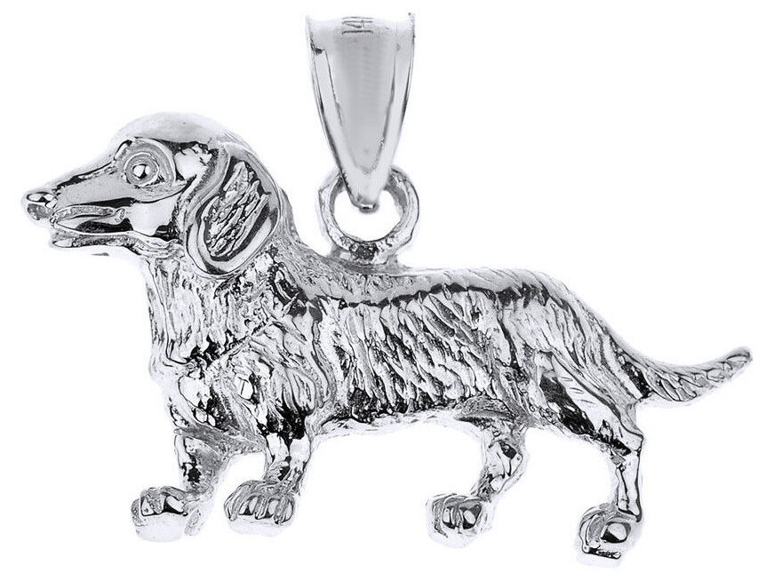White gold Dachshund Dog Pendant