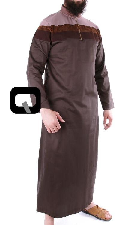 Qamis Long mit Streifen - Jalabiya - Sunnah - Islam Oberteil