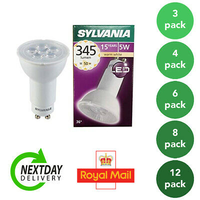 6 X 5W GU10 Long Neck LED bulb SYLVANIA 74mm x 50mm replaces 11w cfl type bulbs