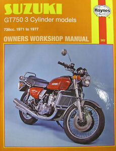 haynes manual 0302 suzuki gt750 3 cylinder models 71 77 image is loading haynes manual 0302 suzuki gt750 3 cylinder models