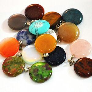 Wholesale Fashion natural round Gemstone stone Silver P Beads Pendant 50pcs//lot